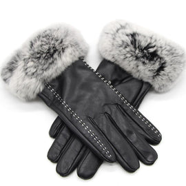 women's leather fur winter gloves style1