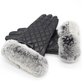women's leather fur winter gloves style2