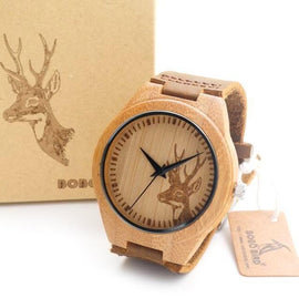 Wooden Bamboo Watches With a Deer Head Design