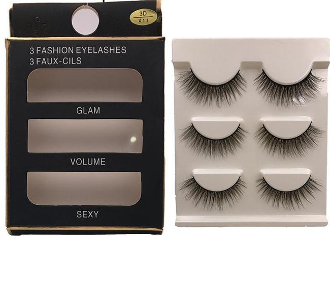 Pack 03 paires de Faux cils 3D - Extension naturelle - Fait main - Clarus Beauty