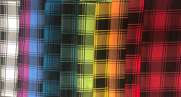 BUNDLE - Plaid Rainbow/Black Ribbing - HALF YARD CUTS