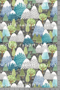 Watercolor Mountains - Organic Cotton/Spandex Euro Knit Jersey