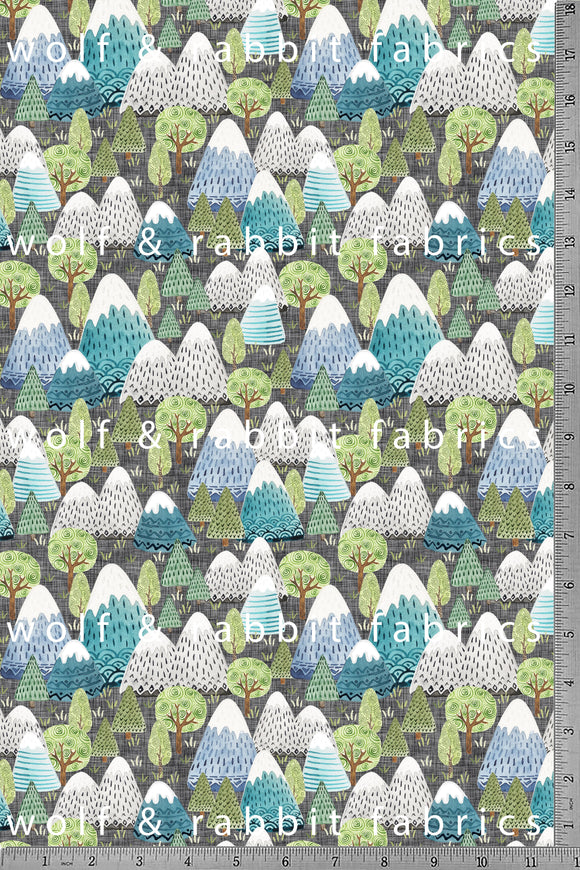 POPLIN - Mountains - 100% Organic Cotton WOVEN Fabric