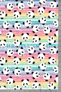 PREORDER - Pandas & Summer Stripes - Organic Cotton/Spandex Euro Knit Jersey