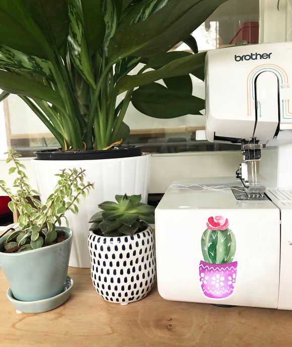 Vinyl Sticker - Magenta Pot Cactus