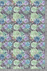 POPLIN - Succulents - 100% Organic Cotton WOVEN Fabric