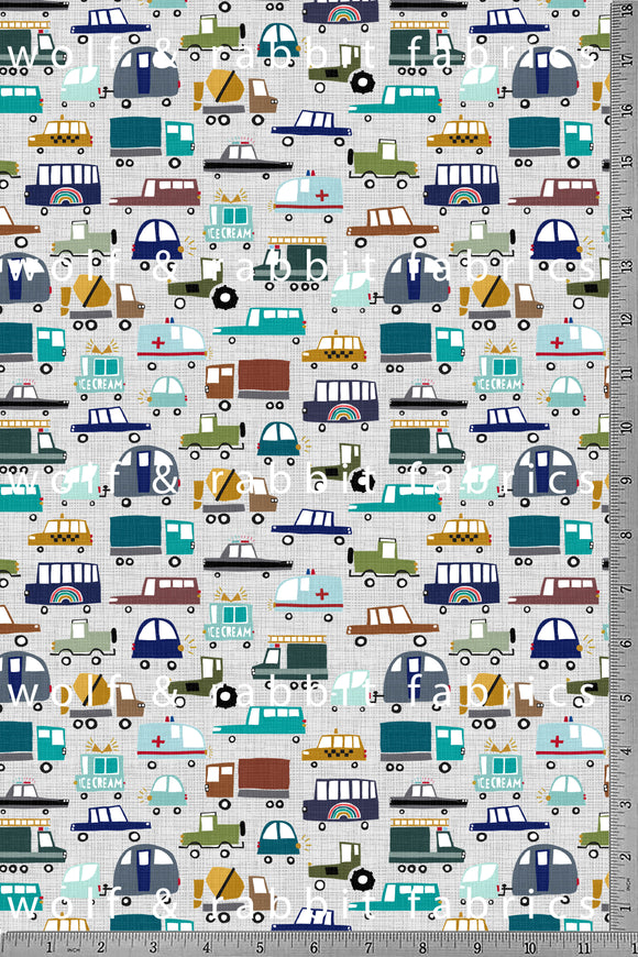 PREORDER - POPLIN - Toy Cars - 100% Organic Cotton WOVEN Fabric