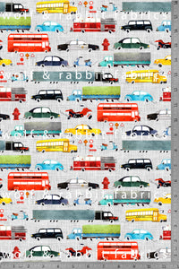 POPLIN - LARGE - Vehicles - 100% Organic Cotton WOVEN Fabric
