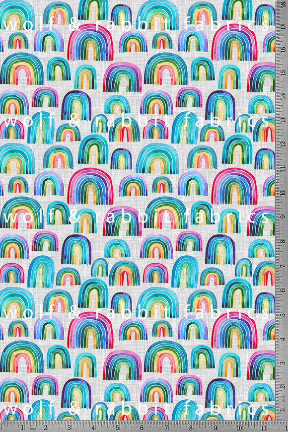 POPLIN - Rainbows - 100% Organic Cotton WOVEN Fabric