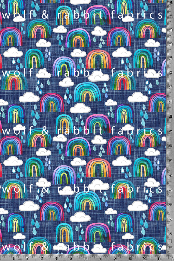 POPLIN - Rainbows & Raindrops - 100% Organic Cotton WOVEN Fabric