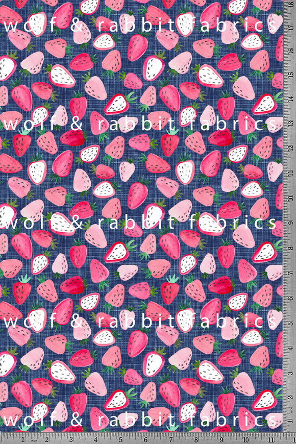POPLIN - Strawberries - 100% Organic Cotton WOVEN Fabric