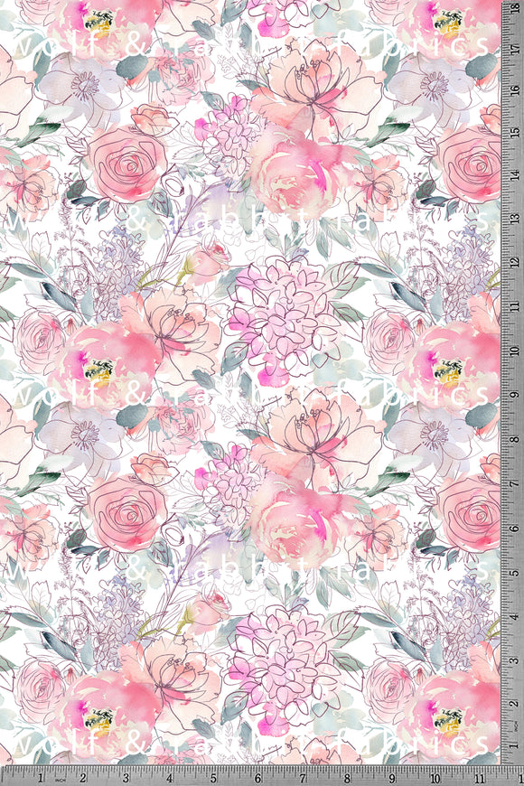 POPLIN - Sweetheart Floral - 100% Organic Cotton WOVEN Fabric