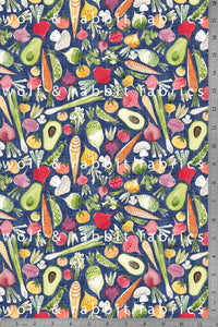 POPLIN - Vegetables - 100% Organic Cotton WOVEN Fabric