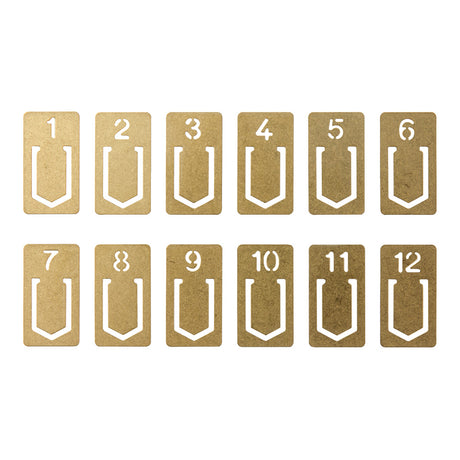 Traveler's Brass Number Clips - Set of 12