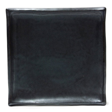 "Black Iron Glaze 9"" Square Plate"