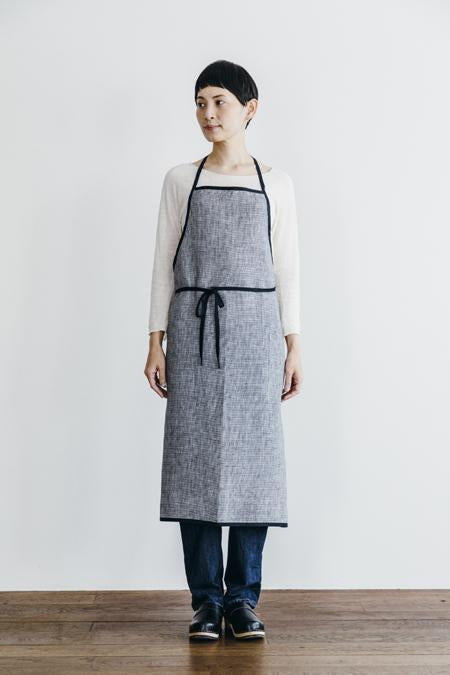 Everyday Apron with Tie | Black Herringbone w/ Black Trim