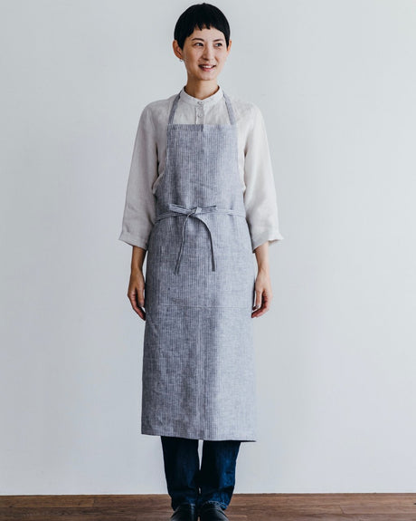 Everyday Apron with Tie | Grey & White Pinstripe