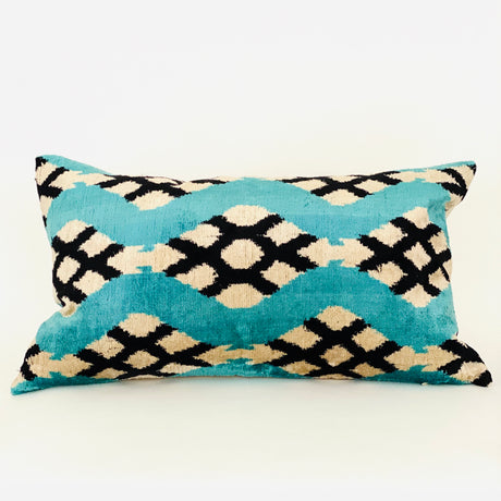 Geometric Velvet Lumbar Pillow | Turquoise & Black | 24x14""