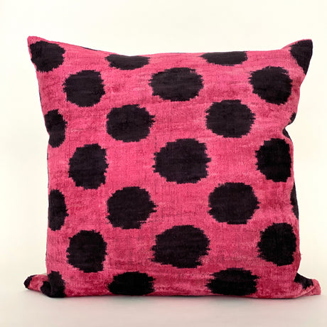 Ikat Velvet Pillow | Black&Fuschia | 20x20