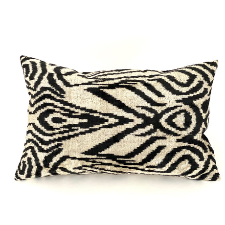 Geometric Velvet Lumbar Pillow | Black & White | 24x15""