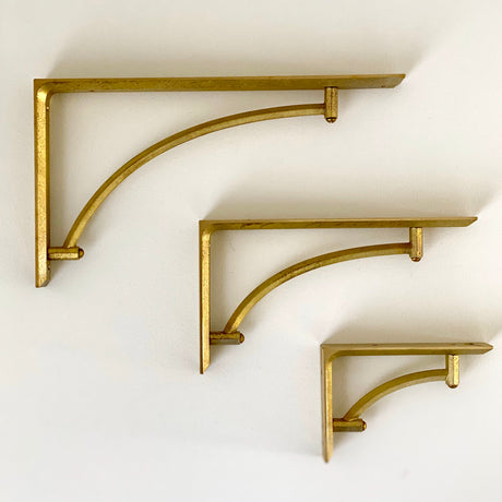 Brass Shelf Bracket - Curved