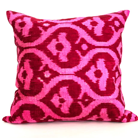 Ikat Velvet Pillow | Red & Fuschia | 20x20