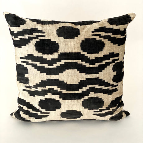 Ikat Velvet Pillow | Black & Ivory | 20x20