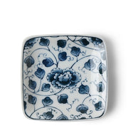 Blue & White Square Sauce Dish patterned |  3 1/2""