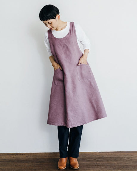Linen Over Dress Apron - Lilac
