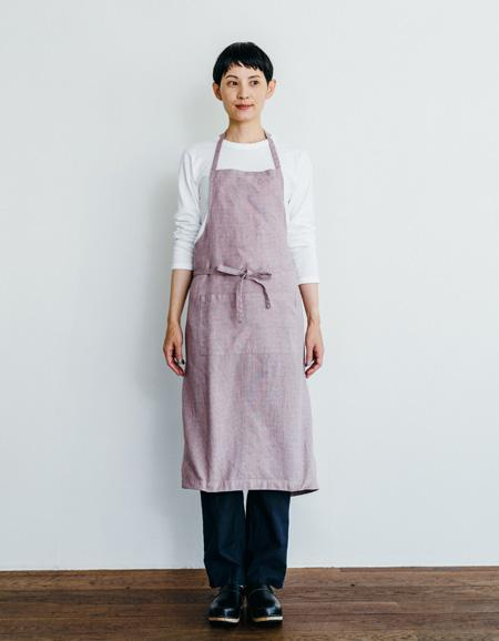 Everyday Apron with Tie | Lilac Herringbone