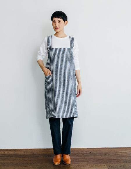 Navy and Ivory Linen Square Apron