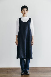 Linen Over Dress Apron - Navy