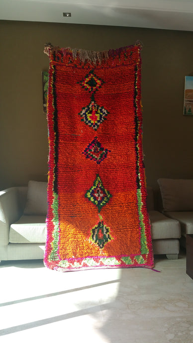 Bold vintage Moroccan runner from Ourika mountain village !
