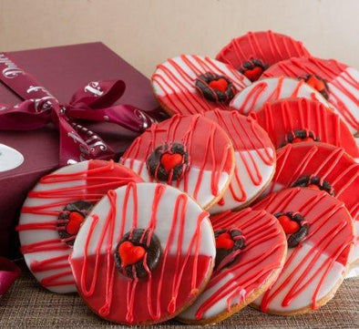 Dulcets Red Heart Valentines Cookies in a Gift Box