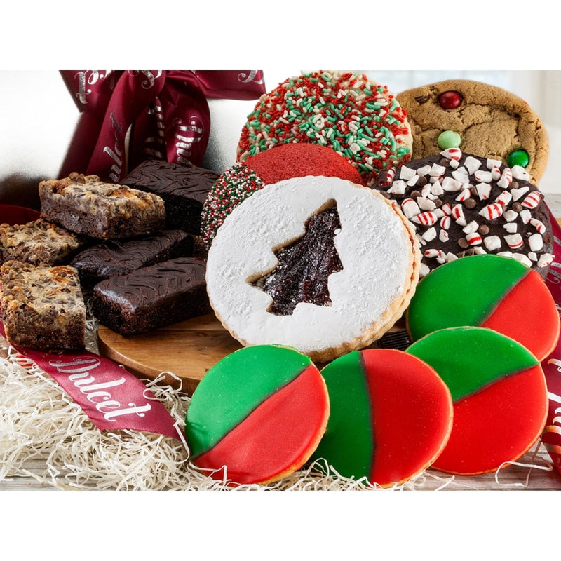 Gourmet Christmas Holidays Gift Basket  Filled with Cookies and Brownies.