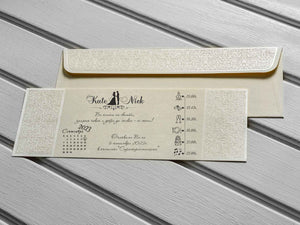 luxury ivory embossed wedding invitations