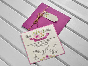 pink and lilac floral wedding invitations