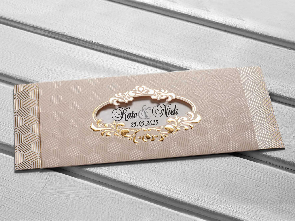 elegant gold crest wedding invitations