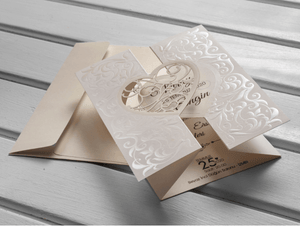trifold ivory laser cut invite