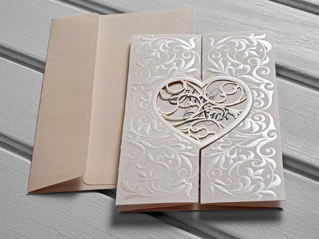 Ivory Heart Laser Cut Wedding Invitations