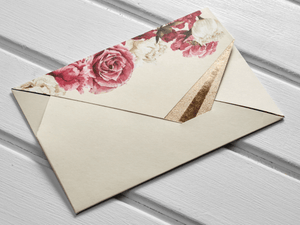 red and white roses wedding invitations envelope