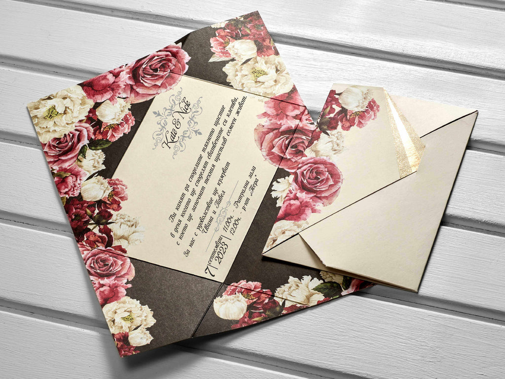 red and white roses wedding invitations