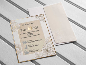 Beige And Gold Wedding Invitations 10545