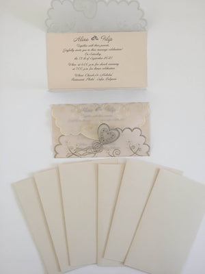 asian cream and gold wedding invitation cards