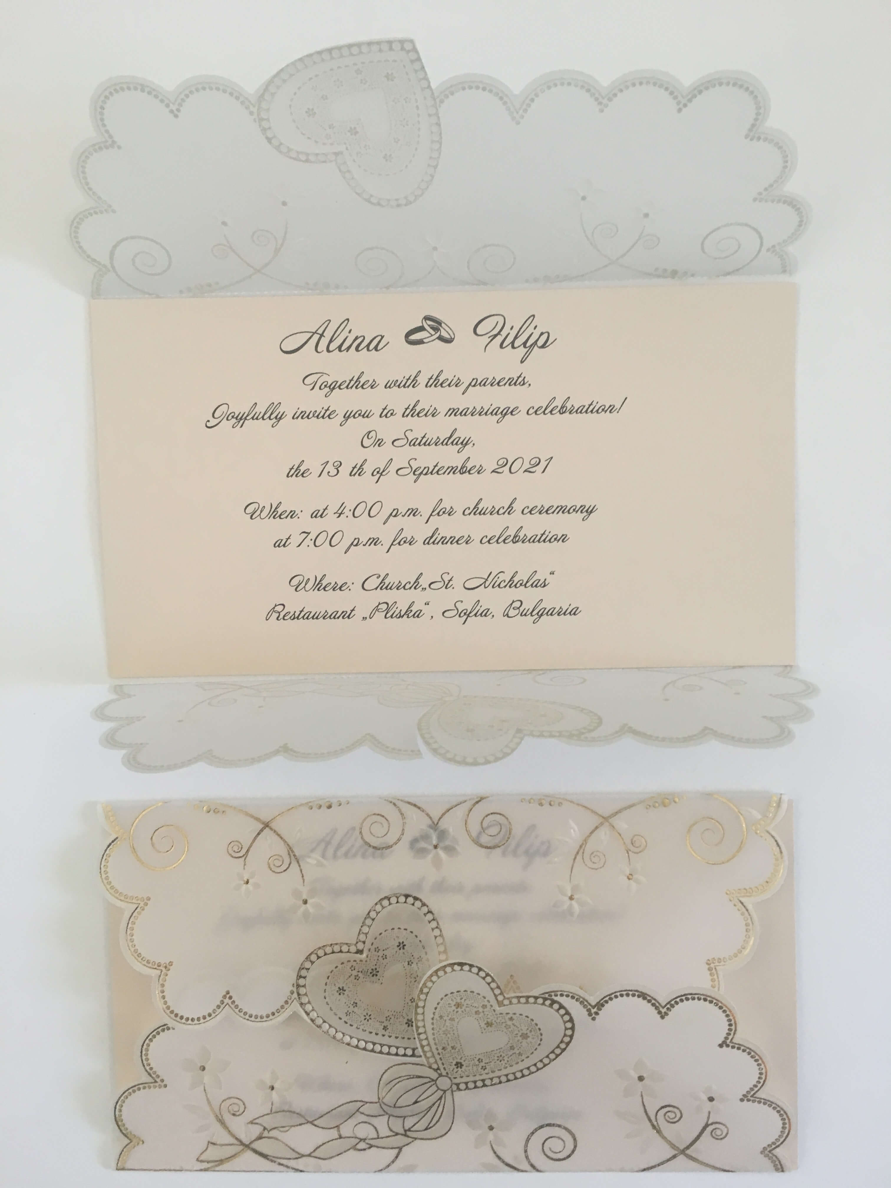 cream and gold wedding invitations