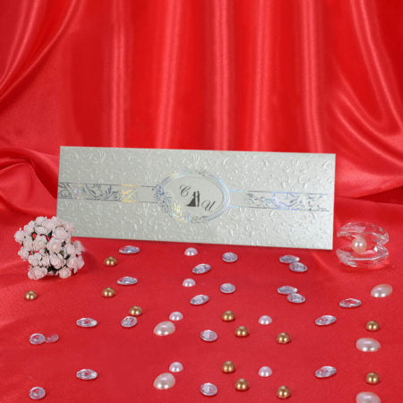 luxury silver embossed wedding invitations