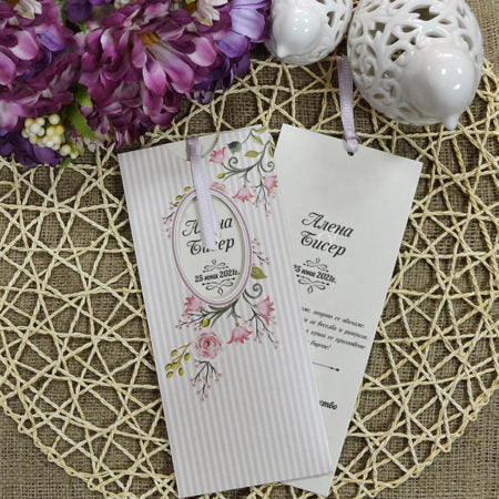 vintage floral pocket wedding invitations