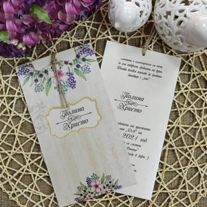 Wood Effect Floral Wedding Invitations
