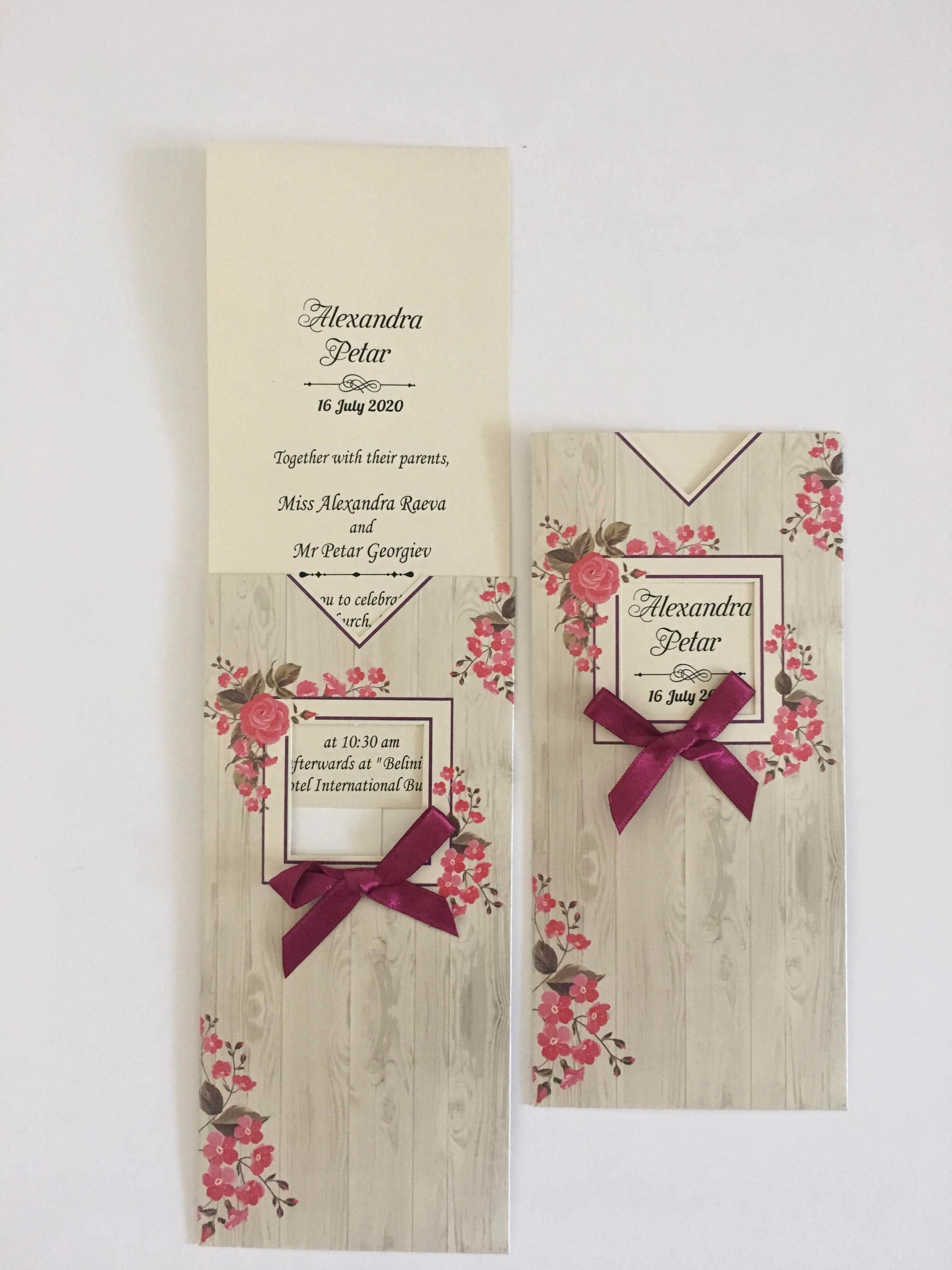 floral pocket wedding invitation with ribbon