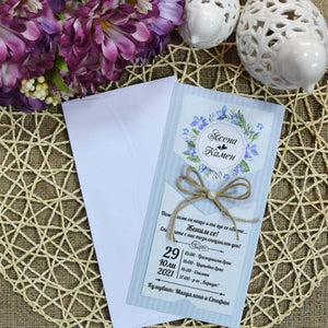 blue rustic wedding invitations